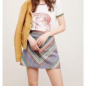 NWOT Free People multi stripe mini skirt.